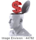 #44782 Royalty-Free (Rf) Illustration Of A Creative 3d White Man Character With A Dollar Symbol