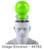 #44783 Royalty-Free (Rf) Illustration Of A Creative 3d White Man Character With A Green Light Bulb