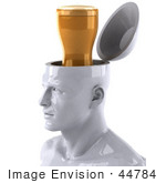#44784 Royalty-Free (Rf) Illustration Of A Creative 3d White Man Character With A Beer - Version 2