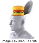 #44785 Royalty-Free (Rf) Illustration Of A Creative 3d White Man Character With A Cheeseburger - Version 1
