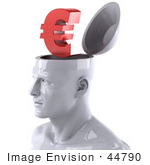 #44790 Royalty-Free (RF) Illustration of a Creative 3d White Man Character With A Euro Symbol by Julos