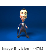 #44792 Royalty-Free (Rf) Illustration Of A 3d White Businessman Mascot Reaching Out To Shake Hands - Version 1