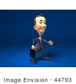 #44793 Royalty-Free (Rf) Illustration Of A 3d White Businessman Mascot Reaching Out To Shake Hands - Version 2