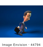 #44794 Royalty-Free (Rf) Illustration Of A 3d White Businessman Mascot Pouting - Version 1