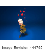 #44795 Royalty-Free (Rf) Illustration Of An Amorous 3d White Businessman Mascot Carrying A Dollar Symbol - Version 1