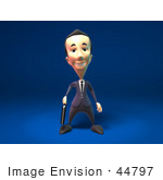 #44797 Royalty-Free (Rf) Illustration Of A 3d White Businessman Mascot Standing And Facing Front - Version 2