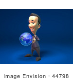 #44798 Royalty-Free (Rf) Illustration Of A 3d White Businessman Mascot Holding A Globe - Version 2