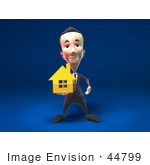 #44799 Royalty-Free (Rf) Illustration Of A 3d White Businessman Mascot Holding Out A Golden Home - Version 3