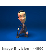 #44800 Royalty-Free (Rf) Illustration Of A 3d White Businessman Mascot Pouting - Version 7
