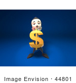 #44801 Royalty-Free (Rf) Illustration Of A 3d White Businessman Mascot Holding A Dollar Symbol - Version 1