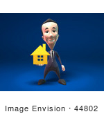 #44802 Royalty-Free (Rf) Illustration Of A 3d White Businessman Mascot Holding Out A Golden Home - Version 1