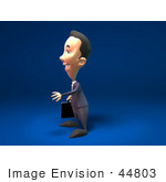 #44803 Royalty-Free (Rf) Illustration Of A 3d White Businessman Mascot Reaching Out To Shake Hands - Version 3