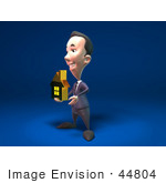 #44804 Royalty-Free (Rf) Illustration Of A 3d White Businessman Mascot Holding Out A Golden Home - Version 2