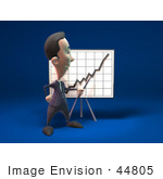 #44805 Royalty-Free (Rf) Illustration Of A 3d White Businessman Mascot Discussing Statistics - Version 2