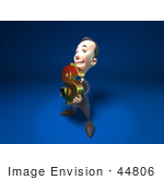#44806 Royalty-Free (Rf) Illustration Of A 3d White Businessman Mascot Holding A Dollar Symbol - Version 2