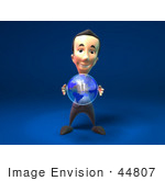 #44807 Royalty-Free (Rf) Illustration Of A 3d White Businessman Mascot Holding A Globe - Version 1