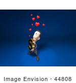 #44808 Royalty-Free (Rf) Illustration Of An Amorous 3d White Businessman Mascot Carrying A Dollar Symbol - Version 2