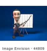 #44809 Royalty-Free (Rf) Illustration Of A 3d White Businessman Mascot Discussing Statistics - Version 1