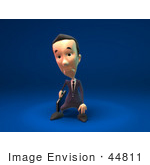 #44811 Royalty-Free (Rf) Illustration Of A 3d White Businessman Mascot Pouting - Version 3