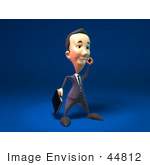 #44812 Royalty-Free (Rf) Illustration Of A 3d White Businessman Mascot Talking On A Cell Phone - Version 1