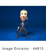 #44813 Royalty-Free (Rf) Illustration Of A 3d White Businessman Mascot Talking On A Cell Phone - Version 3