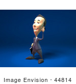 #44814 Royalty-Free (Rf) Illustration Of A 3d White Businessman Mascot Talking On A Cell Phone - Version 2