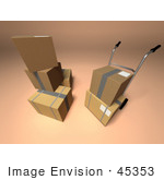 #45353 Royalty-Free (Rf) Illustration Of 3d Cardboard Boxes With A Dolly - Version 3