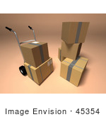#45354 Royalty-Free (Rf) Illustration Of 3d Cardboard Boxes With A Dolly - Version 1