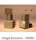 #45355 Royalty-Free (Rf) Illustration Of 3d Cardboard Boxes With A Dolly - Version 2