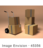 #45356 Royalty-Free (Rf) Illustration Of 3d Cardboard Boxes With A Dolly - Version 4