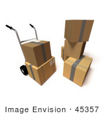 #45357 Royalty-Free (Rf) Illustration Of 3d Cardboard Delivery Boxes With A Dolly - Version 5