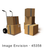#45358 Royalty-Free (Rf) Illustration Of 3d Cardboard Delivery Boxes With A Dolly - Version 8