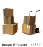 #45359 Royalty-Free (Rf) Illustration Of 3d Cardboard Delivery Boxes With A Dolly - Version 6