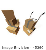 #45360 Royalty-Free (Rf) Illustration Of 3d Cardboard Delivery Boxes With A Dolly - Version 7