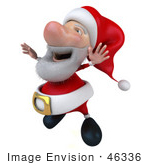 #46336 Royalty-Free (Rf) Illustration Of A 3d Big Nose Santa Mascot Jumping
