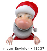 #46337 Royalty-Free (Rf) Illustration Of A 3d Big Nose Santa Mascot Standing Behind A Blank Sign