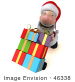 #46338 Royalty-Free (Rf) Illustration Of A 3d Big Nose Santa Mascot Pushing Gifts On A Dolly - Version 4