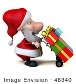 #46340 Royalty-Free (Rf) Illustration Of A 3d Big Nose Santa Mascot Pushing Gifts On A Dolly - Version 3