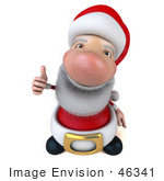 #46341 Royalty-Free (Rf) Illustration Of A 3d Big Nose Santa Mascot Giving The Thumbs Up - Version 1