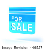 #46527 Royalty-Free (Rf) Illustration Of A Blue 3d For Sale Sign Floating - Version 5