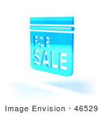 #46529 Royalty-Free (Rf) Illustration Of A Blue 3d For Sale Sign Floating - Version 6