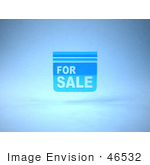 #46532 Royalty-Free (Rf) Illustration Of A Blue 3d For Sale Sign Floating - Version 1