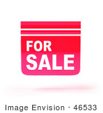 #46533 Royalty-Free (Rf) Illustration Of A 3d Pink Floating For Sale Sign - Version 1