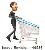 #46536 Royalty-Free (Rf) Illustration Of A 3d White Corporate Businessman Mascot Pushing A Shopping Cart - Version 2