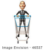 #46537 Royalty-Free (Rf) Illustration Of A 3d White Corporate Businessman Mascot Pushing A Shopping Cart - Version 1