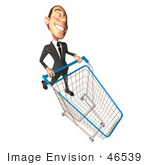 #46539 Royalty-Free (Rf) Illustration Of A 3d White Corporate Businessman Mascot Pushing A Shopping Cart - Version 6