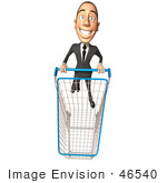 #46540 Royalty-Free (Rf) Illustration Of A 3d White Corporate Businessman Mascot Pushing A Shopping Cart - Version 5