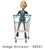 #46541 Royalty-Free (Rf) Illustration Of A 3d White Corporate Businessman Mascot Pushing A Shopping Cart - Version 4