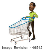 #46542 Royalty-Free (Rf) Illustration Of A 3d Casual Black Man Mascot Pushing A Shopping Cart - Version 3