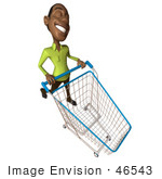 #46543 Royalty-Free (Rf) Illustration Of A 3d Casual Black Man Mascot Pushing A Shopping Cart - Version 6
